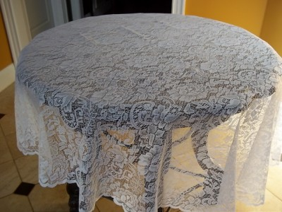 White Lace 72 Inch Round Table Cloth Topper Juliette