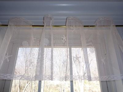 White lace curtain valance window ocean seashell starfish for 12 x 72 window