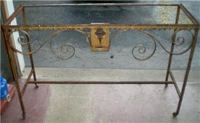 ANTIQUE WROUGHT IRON CHURCH OFFERING CANDLE TABLE WITH ...