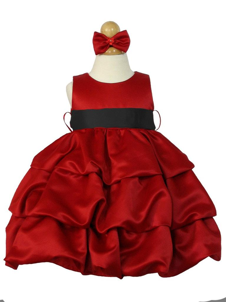 Red Satin Baby Infant Flower Girl Dress 6m 12m 18m 24m Holiday