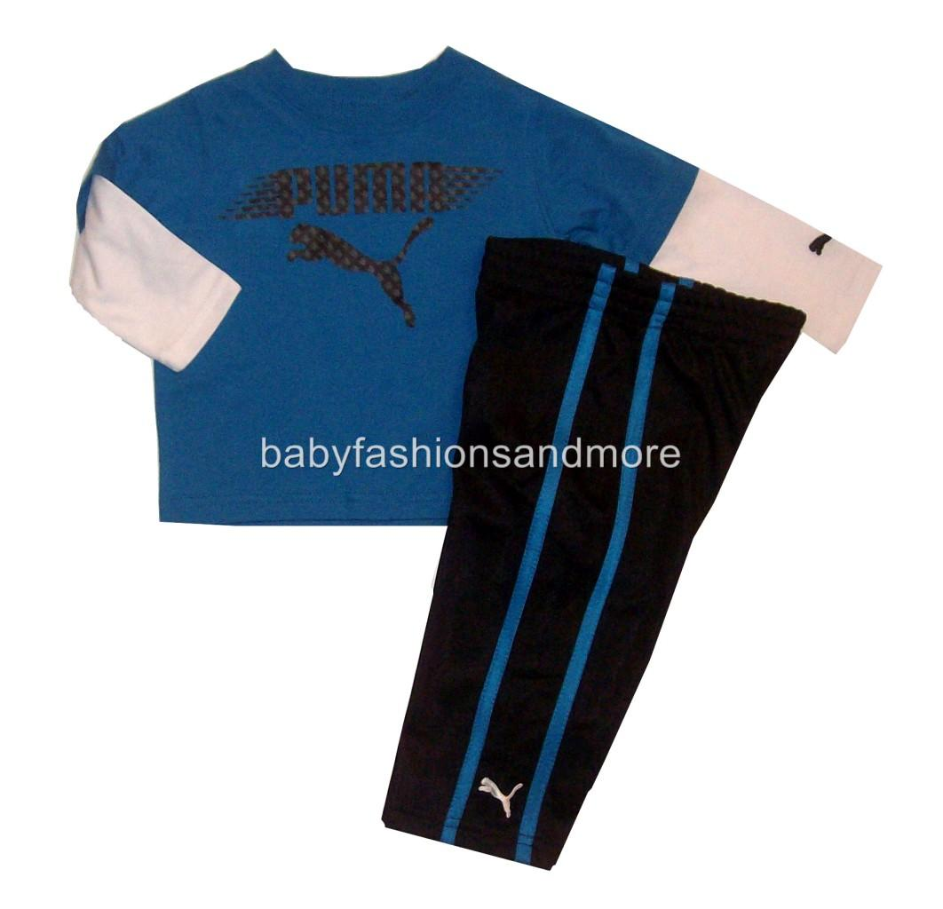 Puma Baby Boys 2 PC Outfit Layered Look Shirt Sporty Pants Blue Black | eBay