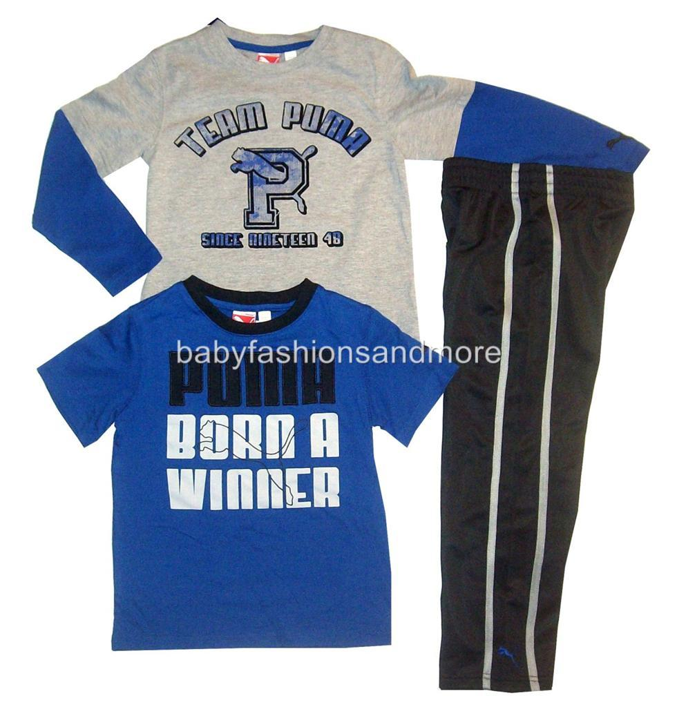 Boys Puma 3pc Clothes Layered Look Shirt Sporty Pants Tshirt Blue Blk Gry | eBay
