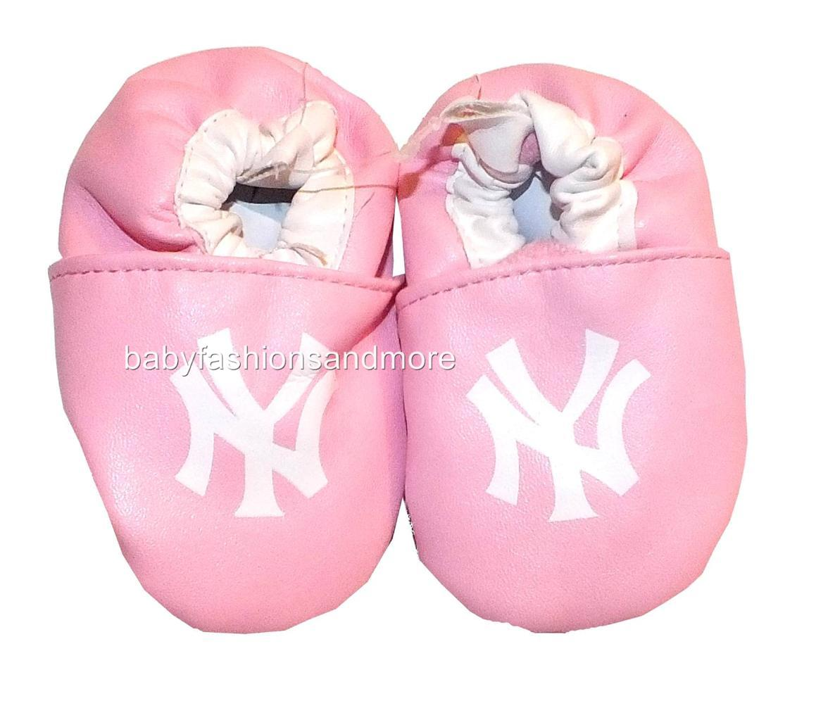 Baby Girls New York Yankees Crib Shoes Leather Feel