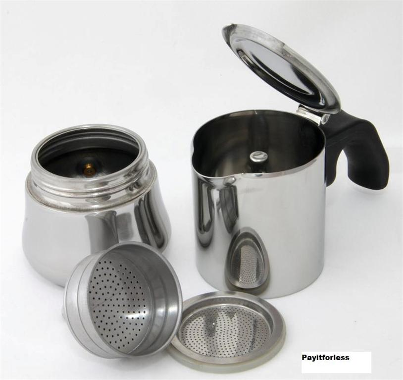 Metal Coffee Maker For Stove : Stovetop Stove Top Stainless Steel Espresso Coffee Maker 6 Cups 12 oz