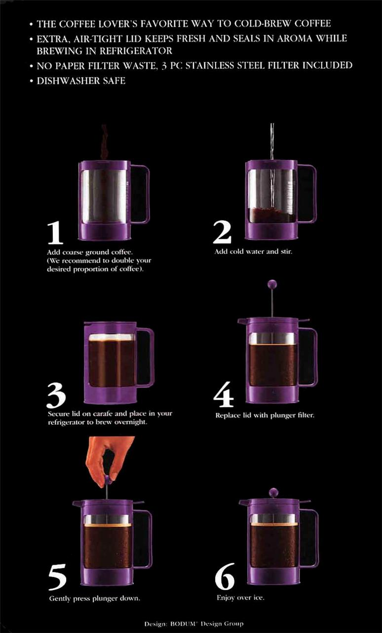 Bodum French Press Coffee Maker Instructions : Iced Coffee French Press Instructions