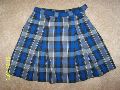 school belles sz 8x blue and black plaid