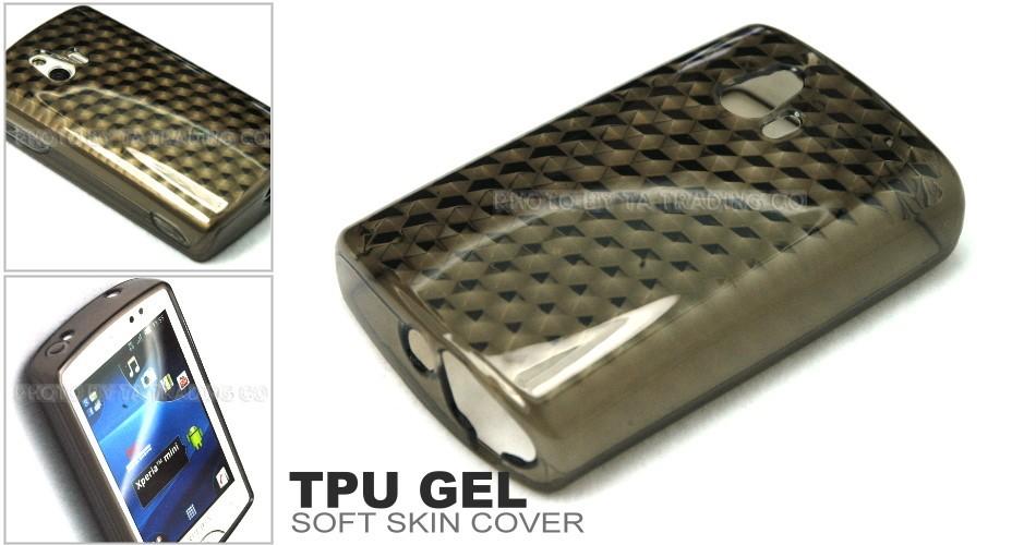 Gray Soft ( TPU Gel DM ) Skin Case Cover for Sony Ericsson Xperia Mini