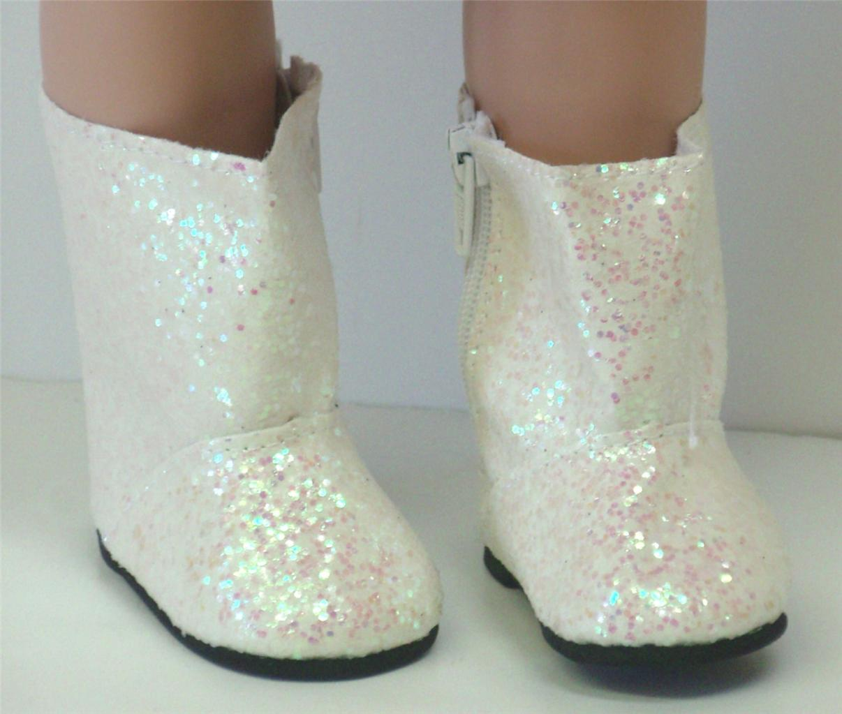 white sparkle boots 18 doll clothes an american