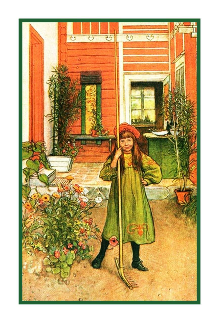 Scandinavian Carl Larsson Hilda Raking In Garden Counted