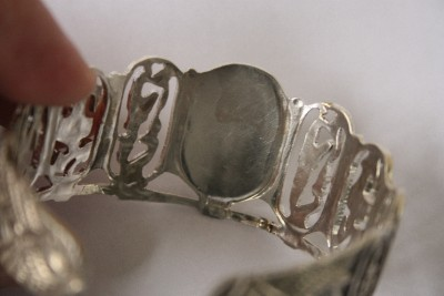 Mid 19th Century Art Deco Hallmarked 800 Silver Egyptian Revival Cuff
