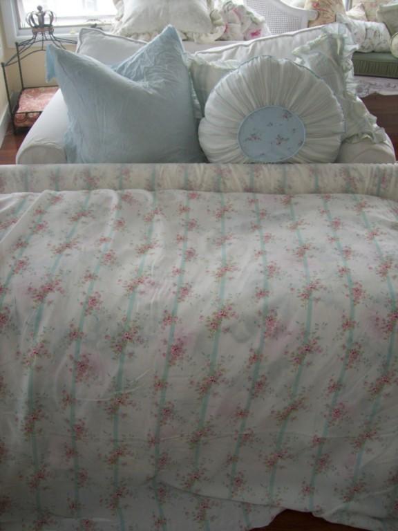 Rachel Ashwell Shabby Chic Round Pillow Sham Bemberg Silk Roses awning stripe eBay
