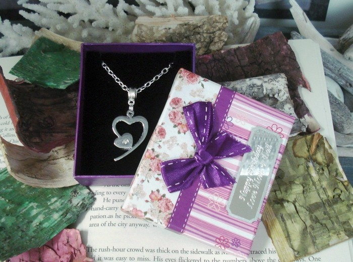 Wedding Bridal Heart Necklace Personalized Engraving with Poem Gift Box