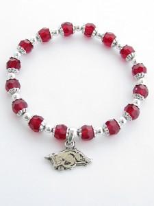Arkansas Razorbacks Glass Crystal Beaded Stretch Bracelet Jewelry UA