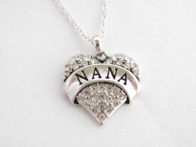 Nana Grandma Grandmother Silver Chain Necklace Clear