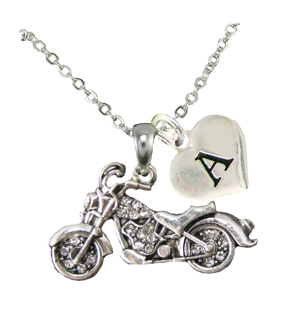 Custom Motorcycle Silver Chain Necklace Choose Initial ...