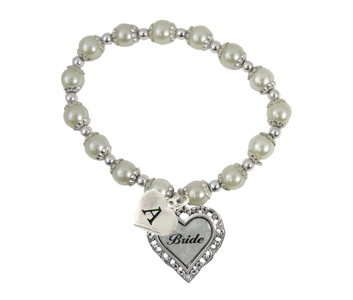 Custom White Pearl Bride Heart Stretch Bracelet Wedding ...