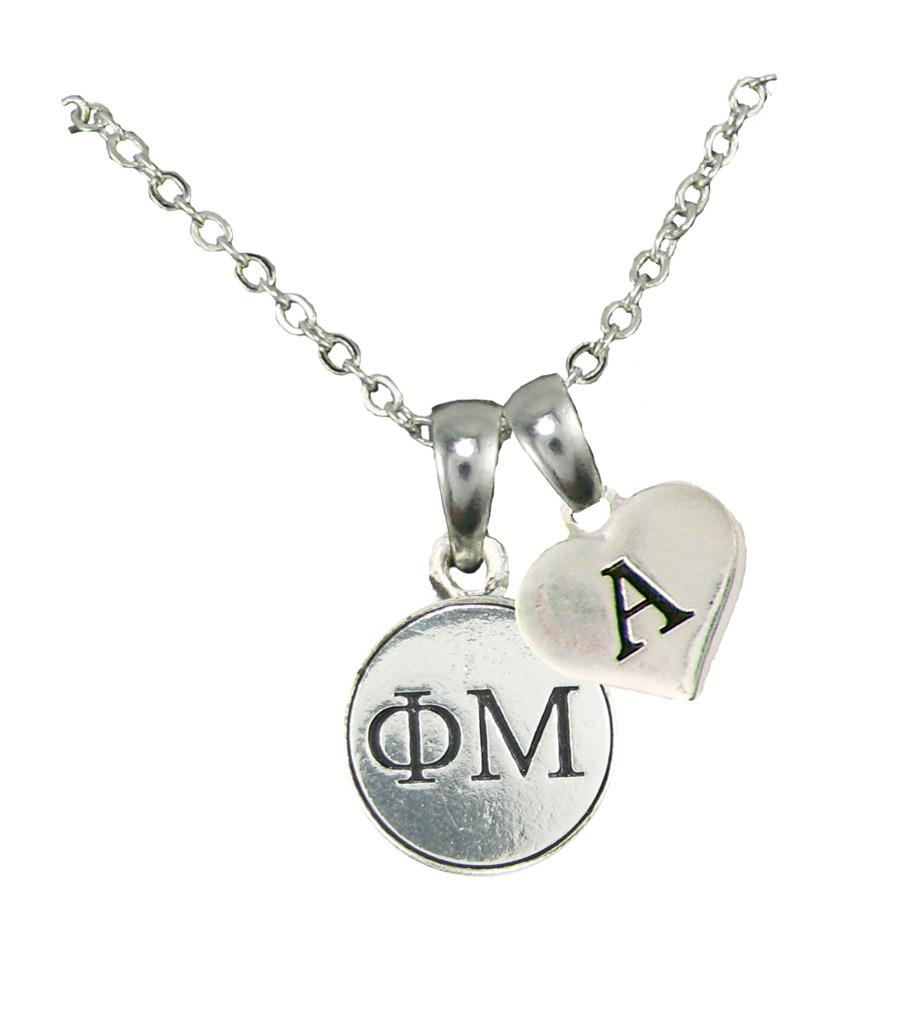 custom phi mu sorority gift silver necklace