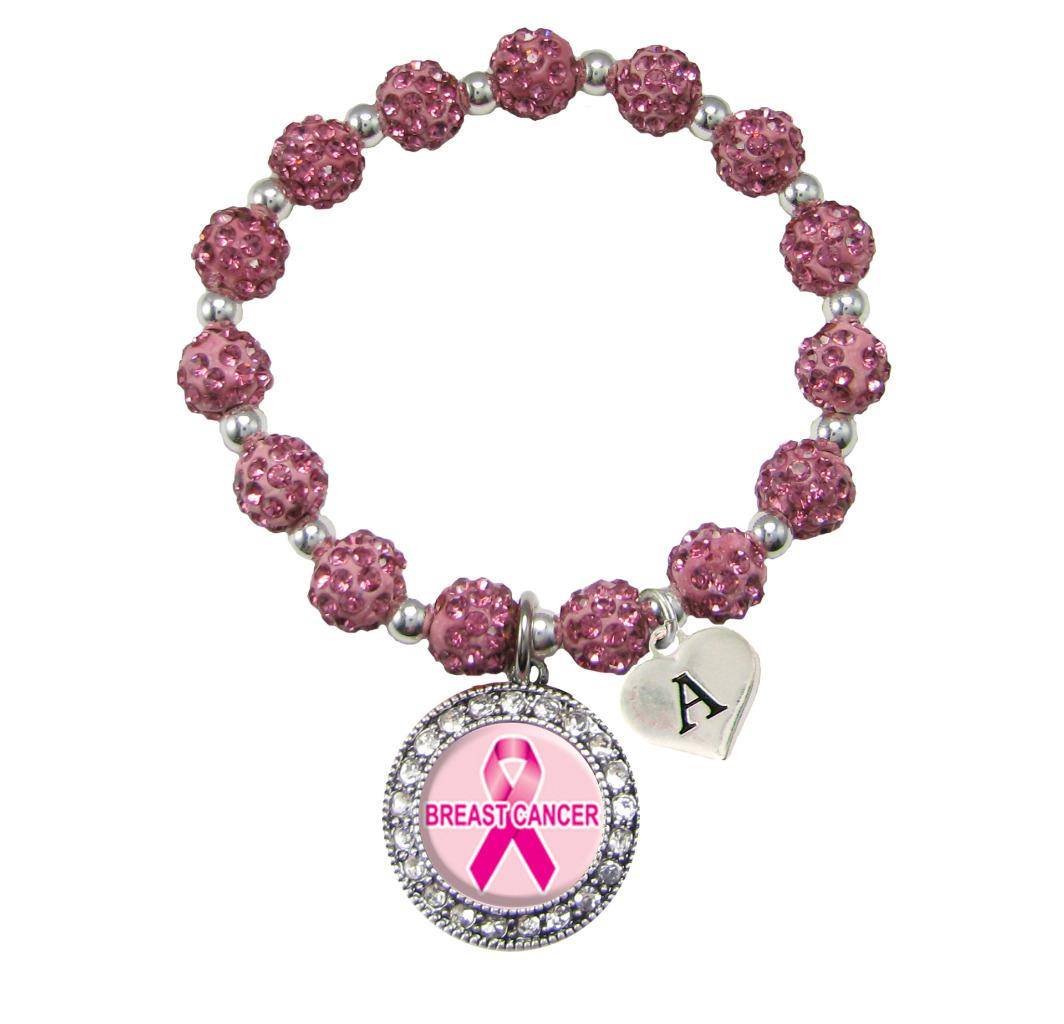 Custom Breast Cancer Awareness Pink Bling Bracelet Jewelry