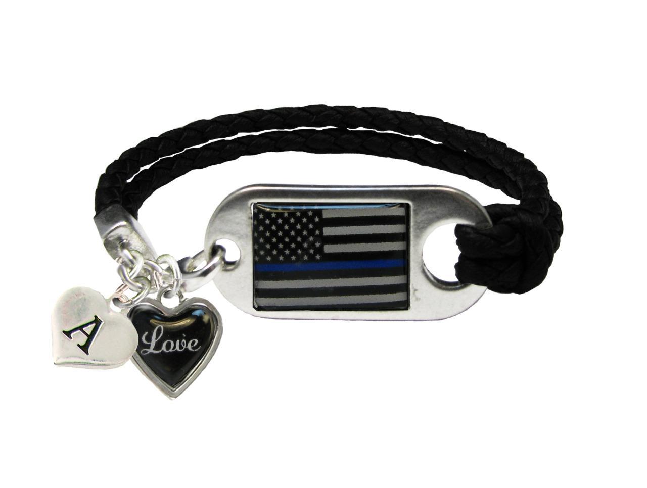 custom police thin blue line black leather bracelet. Black Bedroom Furniture Sets. Home Design Ideas