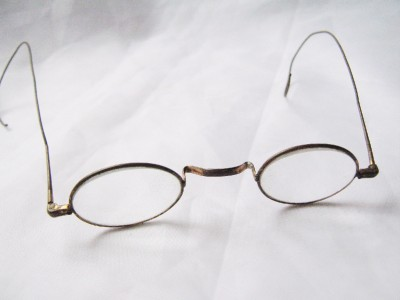 Antique 1800s Brass Wire Rim Eyeglasses With Leather Case ...