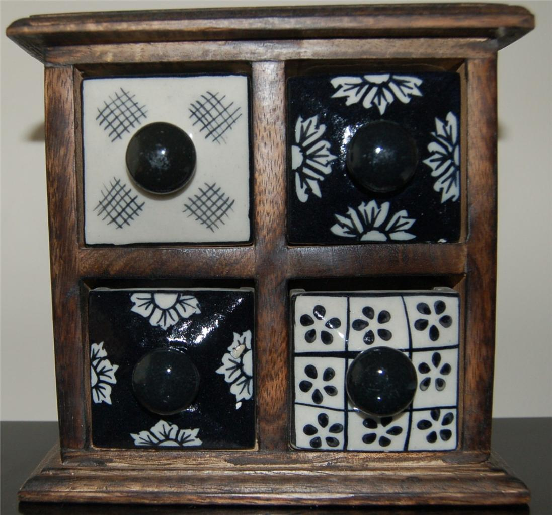 Marvelous photograph of  NEW WOOD & CERAMIC 4 BABY BLACK WHITE DRAWERS JEWELRY BOX/MINI CHEST with #60493A color and 1097x1023 pixels