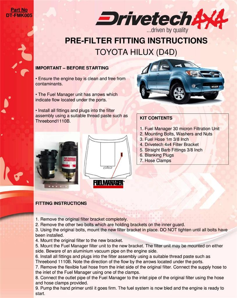 how to change diesel fuel filter toyota hilux