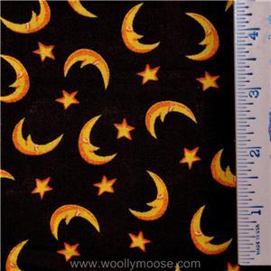Halloween Crescent Moon Stars on Black Quilt Fabric