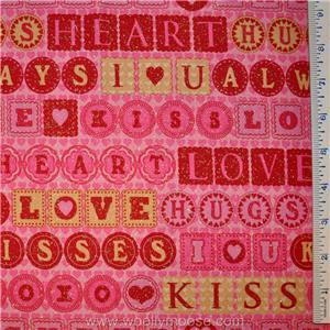 HALF YARD Debbie Mumm GLITTER Hugs & Kisses SPARKLE Valentine Love
