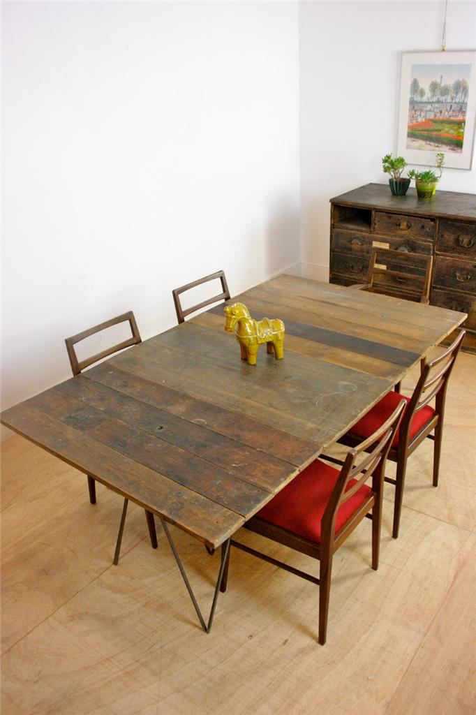 One Off Vintage Plank Top Dining Table Studio Table With Industrial Metal Le
