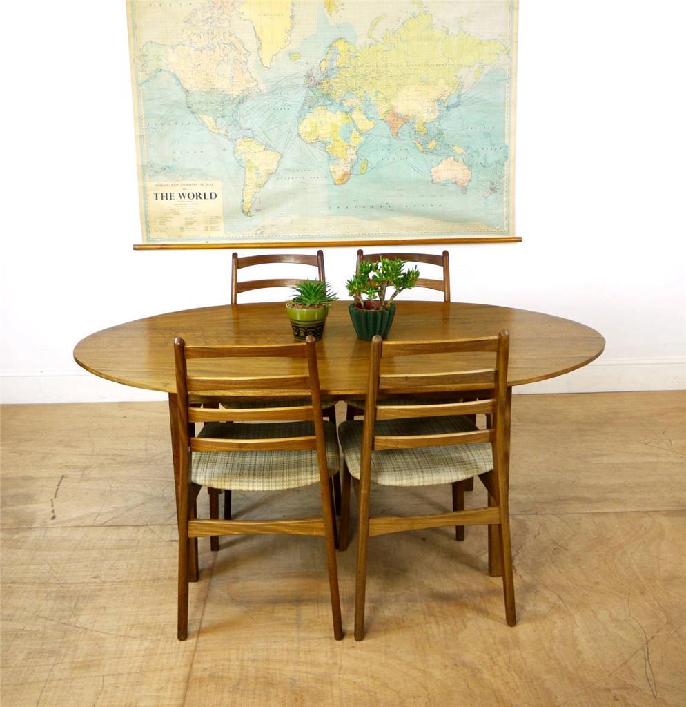 Beautiful Mid Century Solid Teak Slim Oval Dining Table EBay