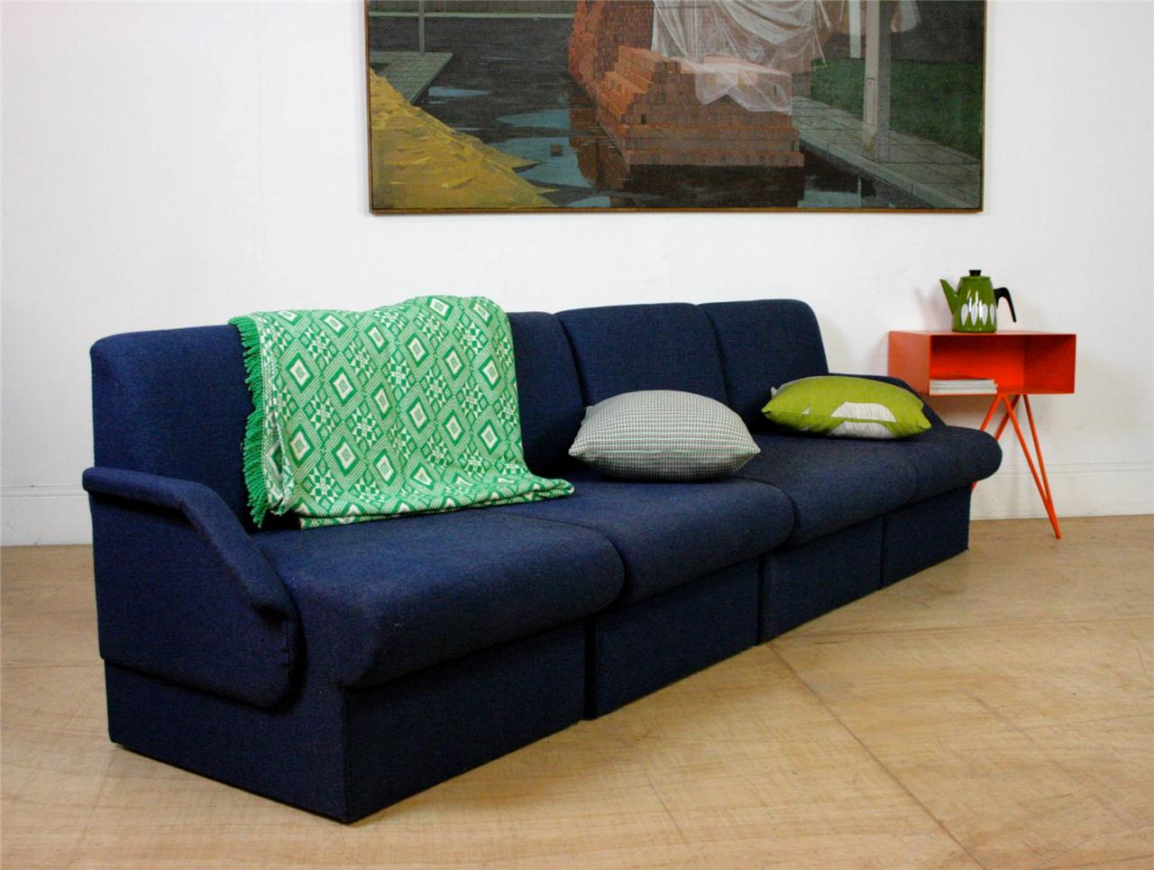 Mid Century Indigo Blue Large Modular Sofa Settee Arm Chairs Retro Vintage