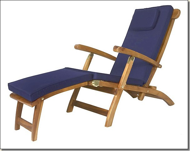 Outdoor Patio Furniture Plantation Teak Deck Steamer Lounge With Cushion NE
