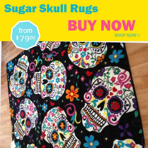 Skull Area Rugs: Day Of The Dead Inspired