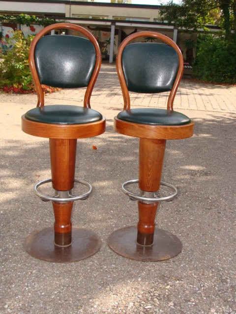 2 barhocker thonet art deco leder ebay for Barhocker leder