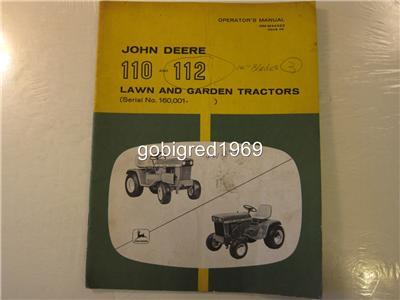 OEM John Deere 110 & 112 Lawn & Garden Tractor Operators Manual LOTS