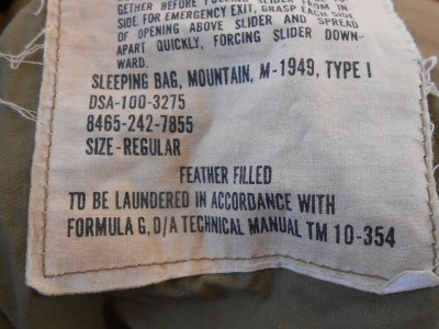 Authentic US Military M-1949 TYPE 1 Down Filled Mountain ...