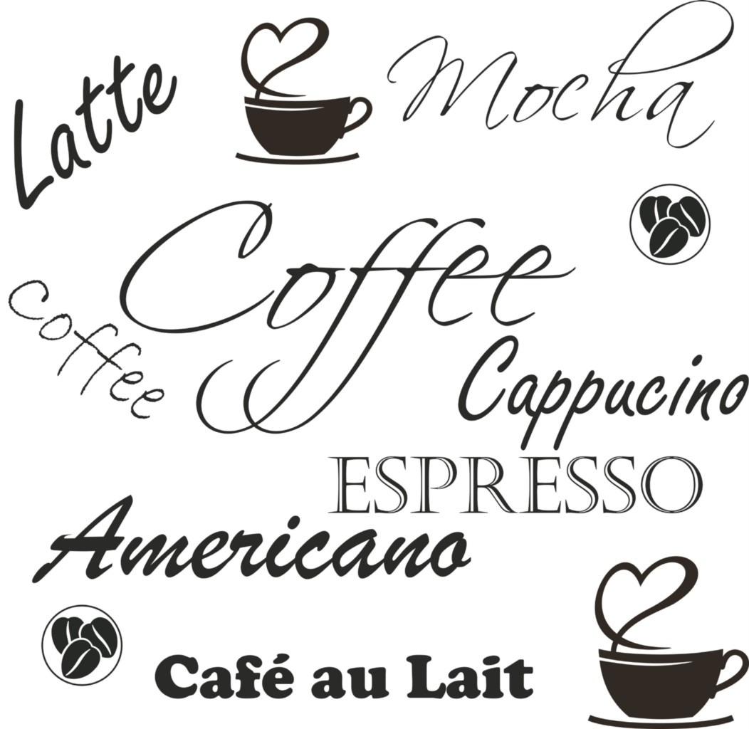 Coffee Espresso Latte Cafe Ivory Brown Kitchen Curtains: Coffee Cafe Cappucino Latte Mocha Kitchen Wall Art Vinyl
