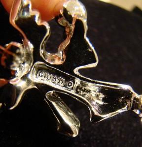 Silvertone JJ angel blowing a horn, green holly & crystal rhinestones