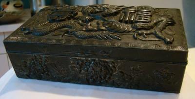 SUPERB ANTIQUE DRAGON REPOUSSE METAL JEWELRY BOX CASKET