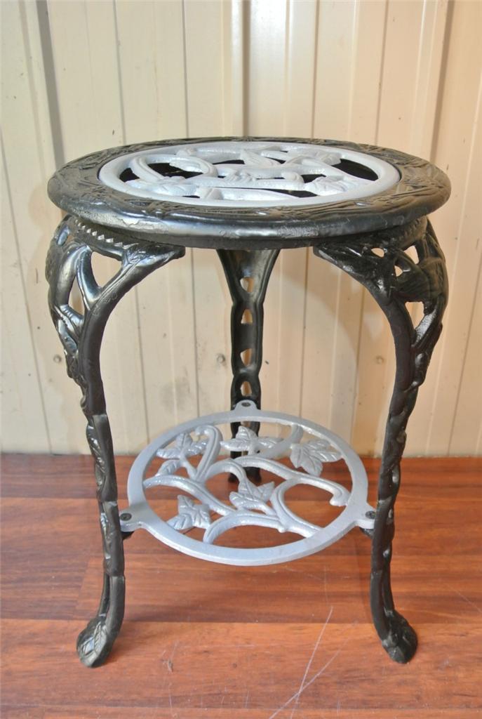 vintage cast aluminium iron pot plant stand table outdoor garden good condition. Black Bedroom Furniture Sets. Home Design Ideas