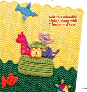 Animal Pillow Blanket Inside : Knitting PATTERN Noah s Ark Afghan 7 fun Animal toys Pillow Now OOP eBay