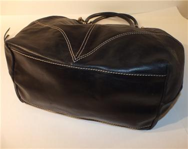 Francesco Biasia Large Black Soft Genuine Leather Hobo Drawstring Tote
