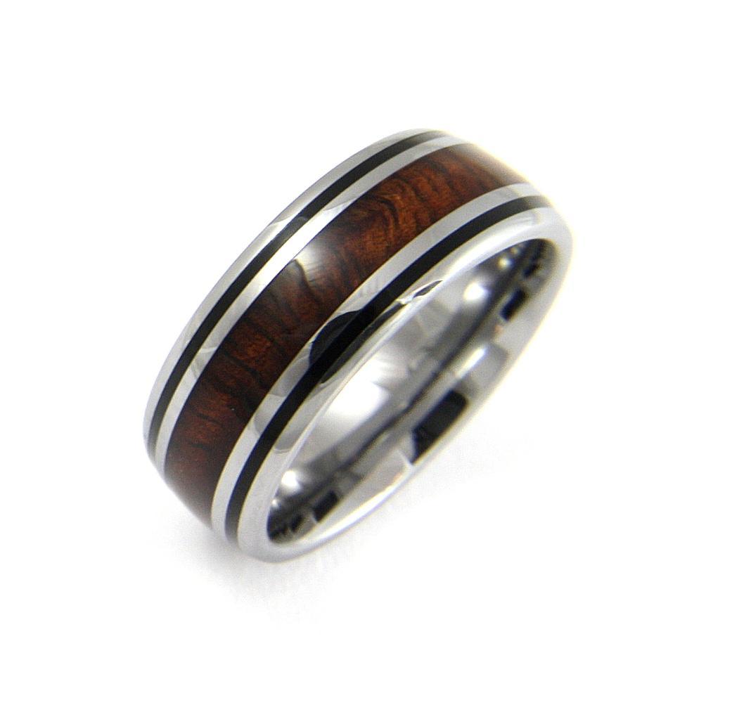 Wood Tungsten Bands: Genuine Inlay Hawaiian Koa Wood Band Ring Tungsten Comfort