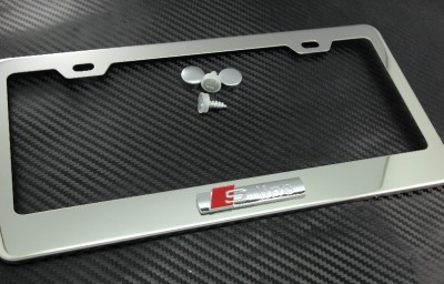 s line audi metal chrome steel license plate frame holder fa3d a4 a5 a6 s4 q5 ebay. Black Bedroom Furniture Sets. Home Design Ideas