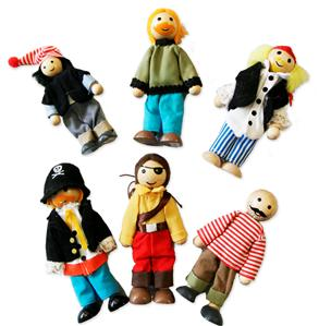 New-Wooden-Dolls-Pirate-Doll-Set-of-6