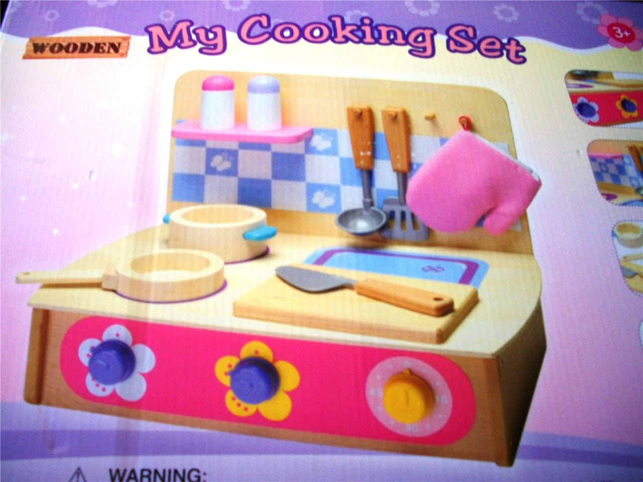 NEW-My-First-Kitchen-Cooking-Pot-Pan-Utensils-WOODEN-Set-NEW