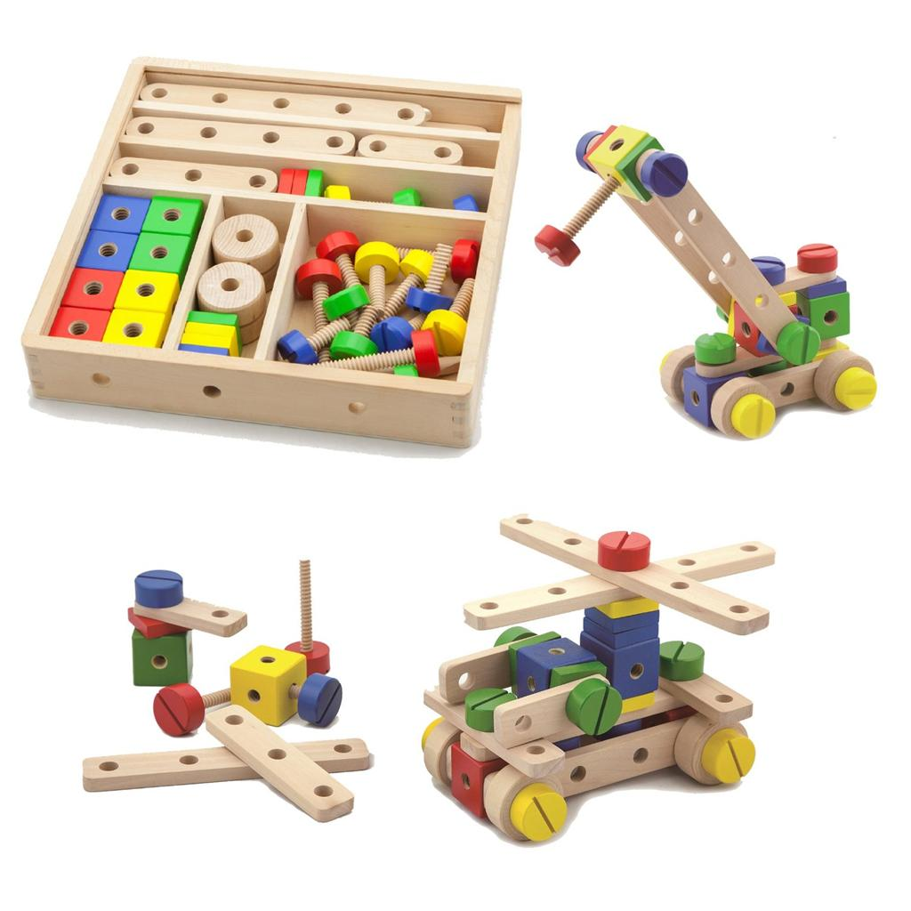 Wooden Construction Toys : Wooden construction set pieces with crate childs toy