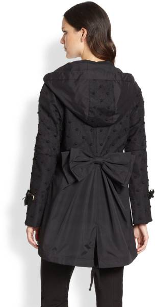 2014-NEW-Red-Valentino-Black-Flocked-Anorak-Bow-Back-Parka-Jacket-895