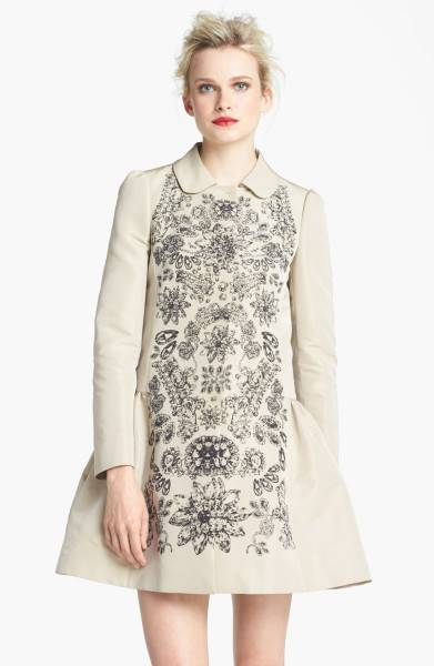 New-AUTH-Red-Valentino-Beige-Print-Faille-Jacket-Trapeze-Coat-895-40-44