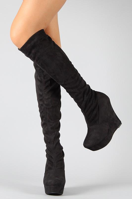 Tai-et-Moi-Round-Toe-Black-Velvet-Wedge-Boot-Knee-high-Winter-Boots